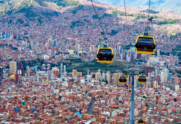 Cable car, Bolivia. Cable cars are no longer purely the domain of fur-clad European ski bunnies. In South American ...