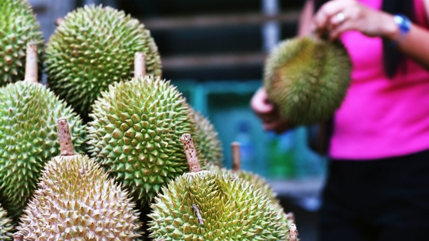 Durians on sale in Singapore.