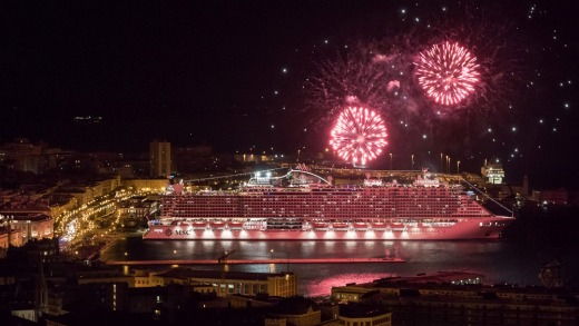 Fireworks celebrate the delivery of the MSC Seaside in Italy.