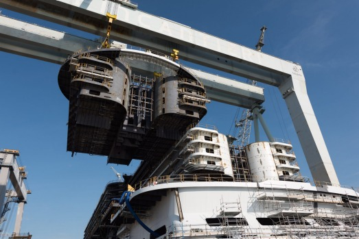 MSC Seaside under construction in Italy.
