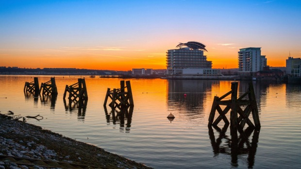 St David's Hotel and Spa at sunset, Cardiff Bay.