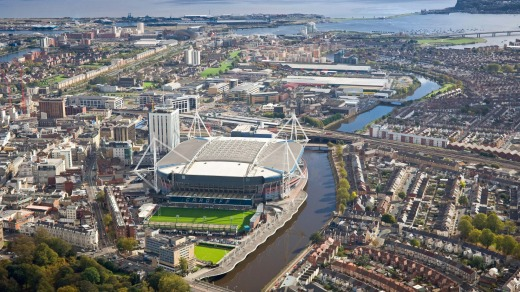 Cardiff centre and Cardiff Bay.