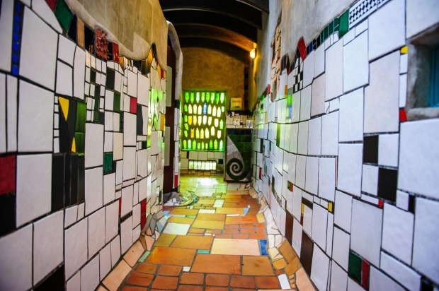 Hundertwasser toilet in Kawakawa, North Island, New Zealand.