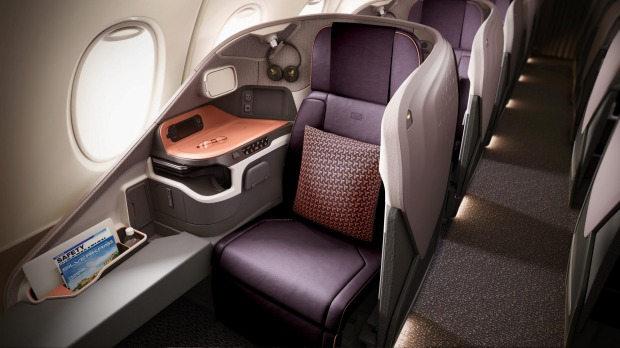 The new Singapore Airlines A380 business class seat.
