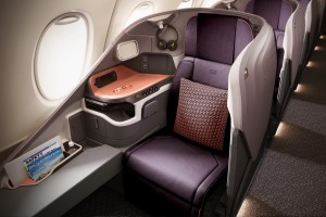 Singapore Airlines business class on the new A380.