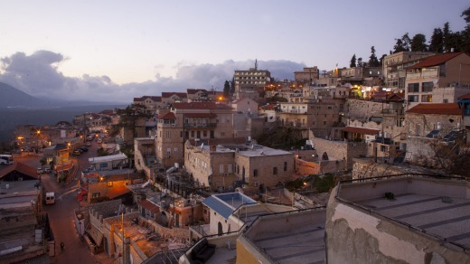 The nearby town of Safed in northern Israel.