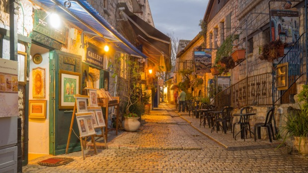 Twilight in the town centre of Tzfat, Israel.