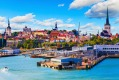 The Old Town and harbor in Tallinn, Estonia.