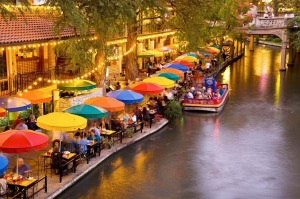 The pedestrian-only section of the river walk is lined with restaurants, cafes, shops, artwork and hotels.