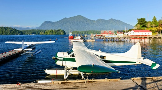 Seaplanes at dock in Tofino.