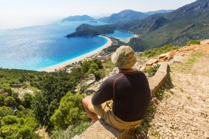 A backpacker on the trail of the Lycian Way in Turkey.