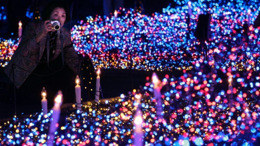 Tokyo's Shiodome district decorated with Christmas illuminations.