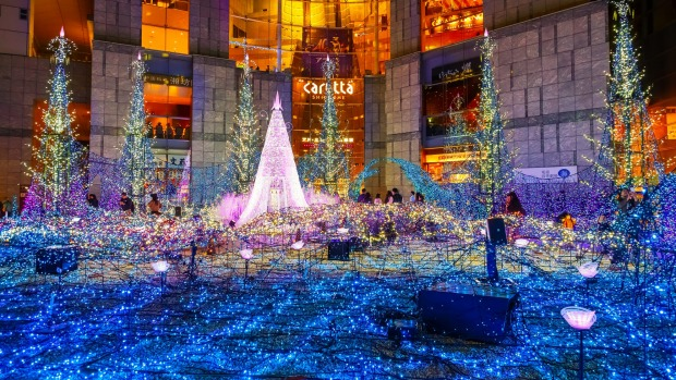 Christmas illuminations at Caretta shopping mall in Tokyo's Shiodome district.