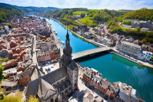 Go by river: The Charles de Gaulle bridge over the Meuse River in Dinant, Belgium.