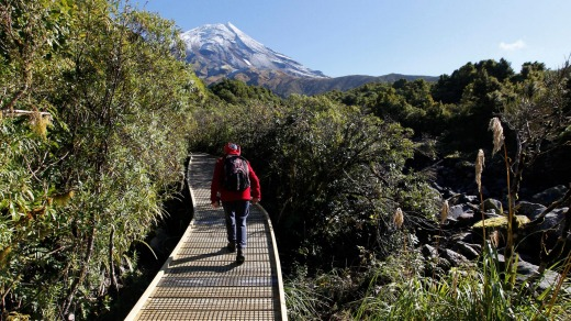 The track to Wilkies Pools with Mt Taranaki in background.