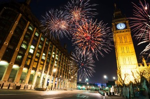Fireworks light up the sky around London's Big Ben at midnight on New Year's Eve.