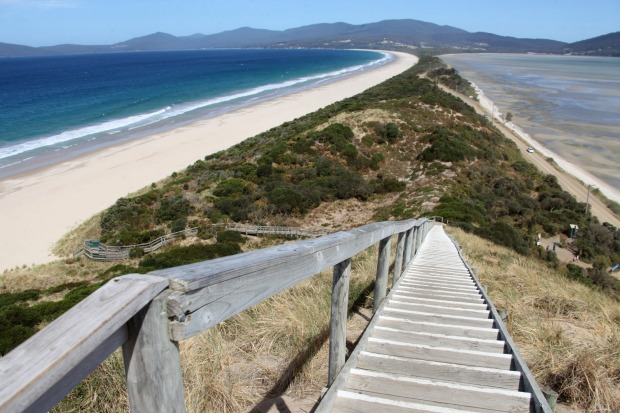 Tasmania is a place of isthmuses: Maria Island, Eaglehawk Neck, Wineglass Bay and perhaps most impressively, Bruny Neck. ...