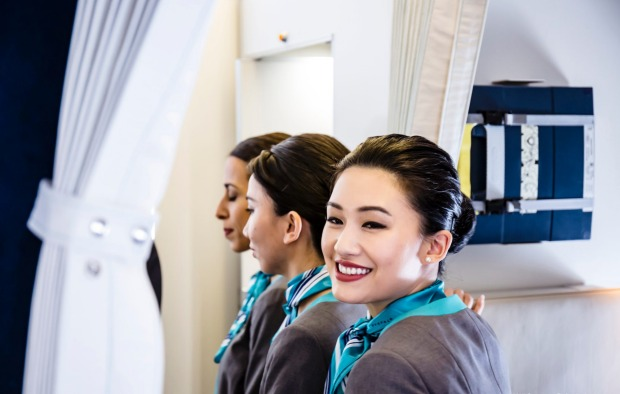 Cabin crew members on board Crystal Skye Boeing 777 private jet.