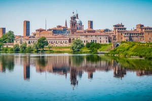 The historic city of Mantua in Lombardy, Italy.