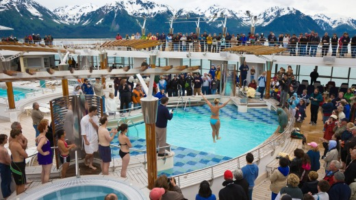 Ocean cruises tend to offer a  more high-octane atmosphere: A passenger jumps into a freezing cold swimming pool while ...