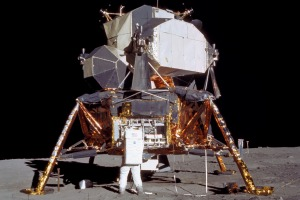 Buzz Aldrin and the Lunar Module on the moon.