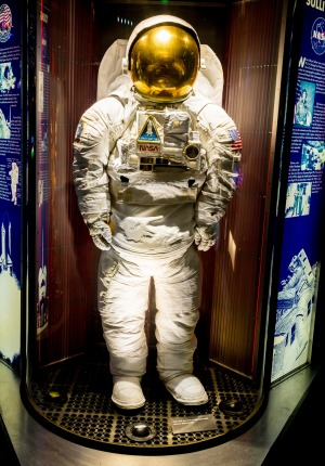 One of the space suits at Houston Space Centre.