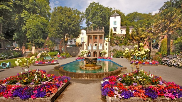 The centre of Portmeirion village has an attractive square with colourful flower beds.