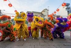 Ho Chi Minh City, Vietnam - January 27, 2017: Lion dance in the yard of Thien Hau Pagoda, Ho Chi Minh City, Vietnam