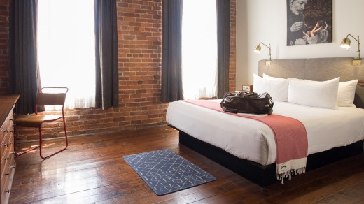 The hotel has exposed brick, modern artworks, stylish furniture and thick, dark curtains to block out the hot Louisiana sun.
