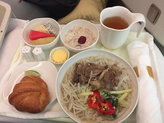 Breakfast of beef pho served on Vietnam Airlines business class.
