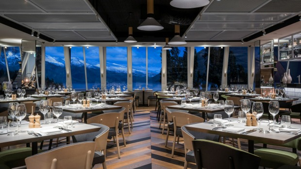 The understated design in QT Queenstown's dining areas allows you to focus on the grandeur of the views.