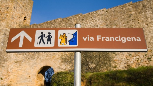 Signpost on the Via Francigena.