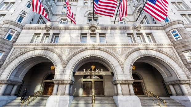 The entrance to Trump International Hotel and the Old Post Office Tower.