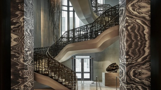 The showstopper metallic staircase and Italian marble.