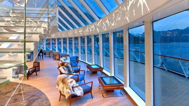 The viewing lounge aboard Viking's Star Explorer. Viking has a fleet of six identical ocean-going ships.
