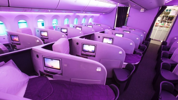 The 1-1-1 configuration in business class on Air New Zealand's Boeing 787-9 Dreamliner.