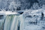 Water flows over the over the Bridal Veil Falls in Niagara Falls, New York, viewed from the Canadian side in Niagara ...