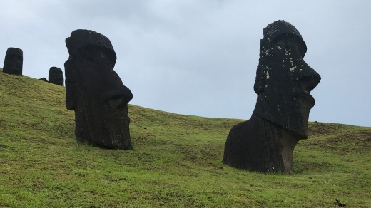 There is a definite human ''presence'' among the moai.