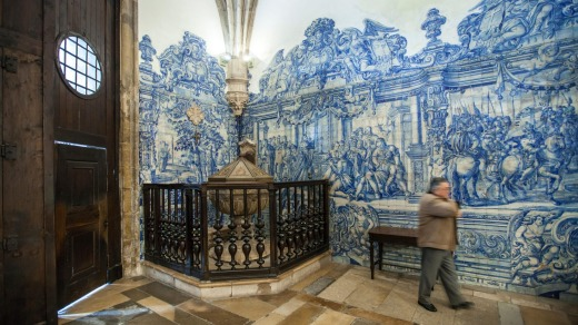 Azulejos tiles at the Santa Cruz Monastry at the University of Coimbra