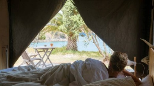 The island has two glamping tents.
