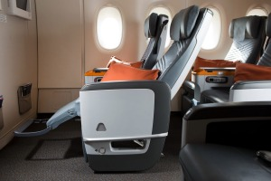 A premium economy seat on Singapore Airlines Airbus A350-900.