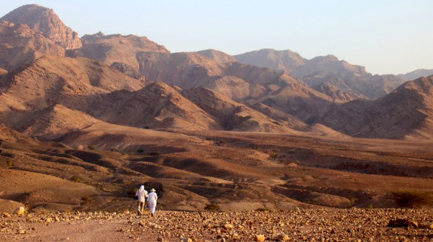 A stroll to a nearby high-point to watch the sunset over the desert is a nightly ritual at Feynan.