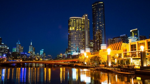 Melbourne skyline at night.