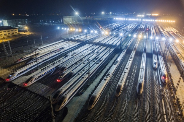 CRH (China Railway High-speed) bullet trains at a maintenance station in Xi'an.