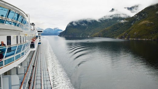 Cruise ships enable stunning access into Fiordland.