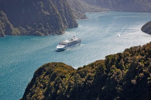 Sea Princess sailing in Milford Sound.