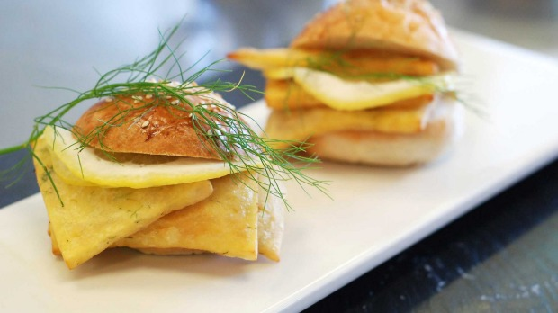PANE E PANNELLE. Chickpea fritters served between bread like a sandwich.