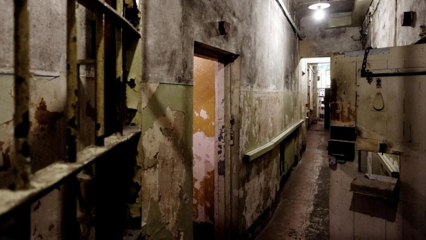 A view of the basement prison cells at the former KGB, or Cheka headquarters known by locals as the Corner House in Riga ...