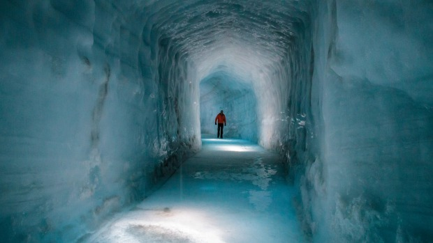 A glacial cave in Langjokull Glacier, Husafell, West Iceland.