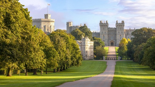 The Long Walk with Windsor Castle in the background, Windsor, Berkshire.